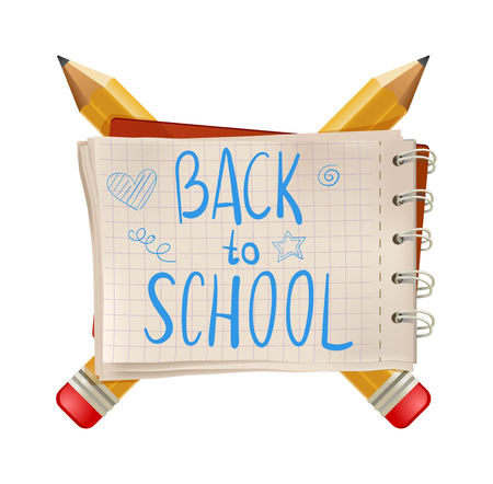 notepaper: Back to school text, note. with pencils isolated on white background. illustration. cartoon. Illustration
