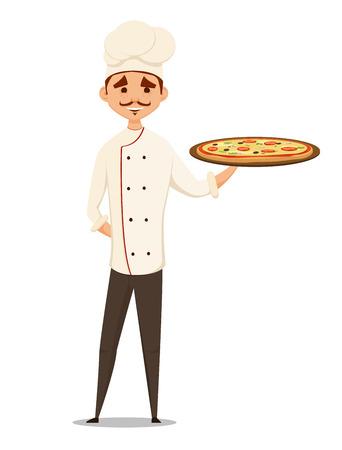 pizza chef: pizza chef holding pizza. illustration. fun Illustration