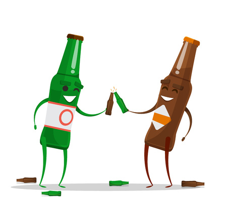 Two drunk beer bottle character. Funny cartoon emotions. Vector illustration, Isolated on white background Vetores