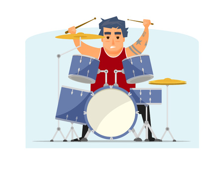 Smiling rock musician with tattoo on hand, drummer, vector illustration, isolated.