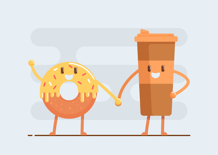 Holding hands donut and cup of coffee vector illustration.