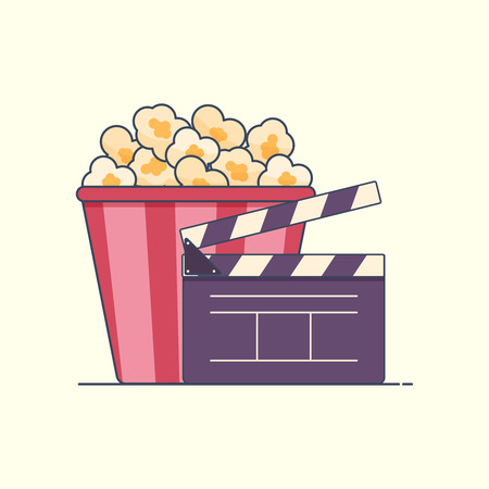 Flat icon Pop corn box and movie clapper. vector illustration. isolated Illustration