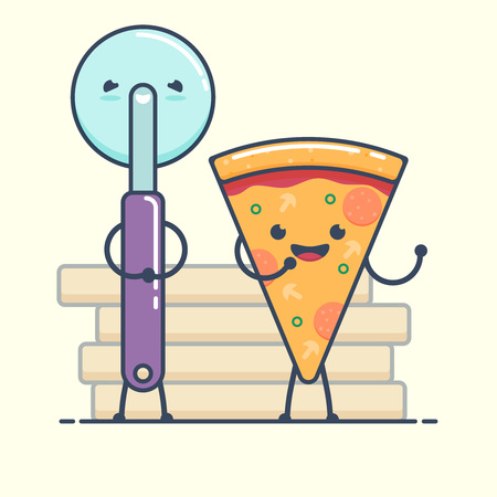 Fun characters Pizza and Knife. Fast food characters. Flat vector illustration. isolated