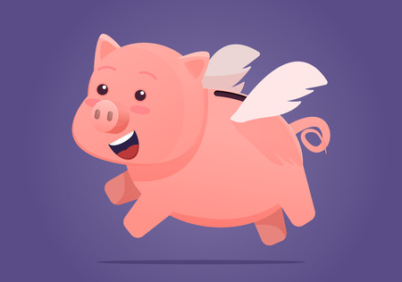 Piggy bank. Happy smiling Jumping or flying pig with wings. Vector illustration on ultra violet background.