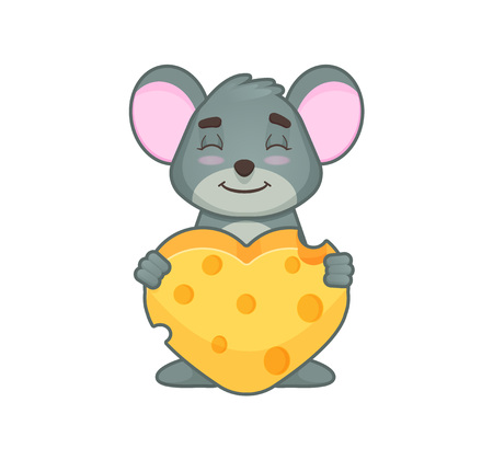 Cute mouse with hearth smiling with close eyes and hearth made of cheese. cartoon style. Vector illustration isolated on white background Illustration