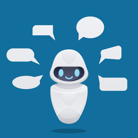 Cute future chat bot with text bubbles. isolated vector illustration