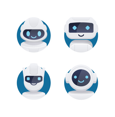 Future chat bot set. robot icons with blue cute eyes and smiles isolated in circle.