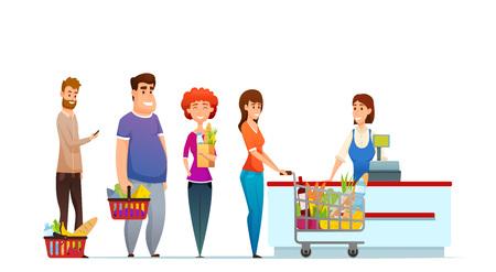 Klant wachtrij mensen winkelen in de supermarkt bij de kassa met kassier vectorillustratie geïsoleerd op een witte achtergrond.
