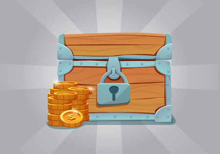 Wooden closed old treasure chest with gold coins. Vector illustration. Illustration