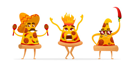 Cartoon spicy pizza characters slices. Mexican pizza with red hot chilly pepper . vector illustration isolated on white background. Illustration