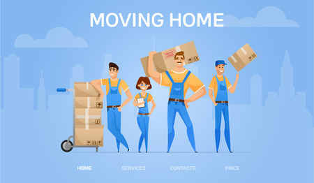 moving home banner. Cartoon loaders movers team with cardboard boxes. Moving and delivery company concept. Vector illustration.