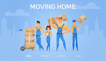 bannière de déménagement à la maison. L'équipe de déménageurs de chargeurs de dessin animé avec des boîtes en carton Concept d'entreprise de déménagement et de livraison. Illustration vectorielle.