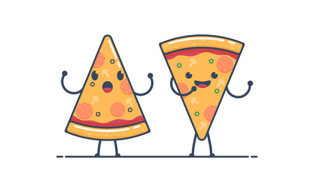 Smiling happy Pizza characters Pizza slices. vector illustration. flat style. isolated on white background