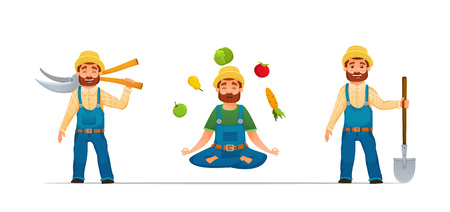 Smiling happy Farmer or gardener characters set.farmer with tools. yoga farmer with vegetables. cartoon style. vector illustration in white background