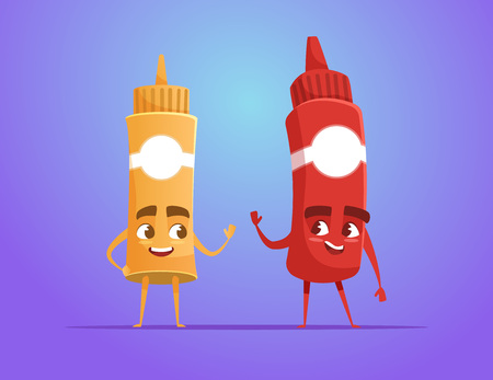 Ketchup and mustard waving hand as friends. Food characters. Funny cartoon characters. Vector illustration isolated on colorful gradient. Illustration