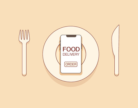 Mobile Food delivery concept with fork,plate, knife for dinner with smartphone and order button on screen. vector illustration. outline style Illustration