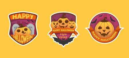 Set of cartoon style Happy Halloween labels and budges.with pumpkin heads. stickers, paper cut tags. isolated on yellow background with white outline