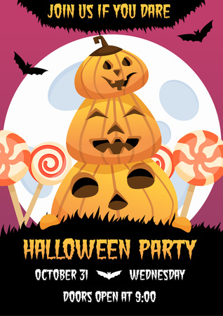 Happy halloween invitation poster with smiling pumpkin and candies on background. Greeting card .scary  party flyer. spooky  banner for celebrating holiday bats, big moon, and text