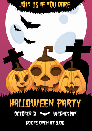 Happy halloween invitation poster. Greeting card .scary  party.  spooky  banner for celebrating holiday. with funny cartoon pumpkin heads, bats, big moon, and text