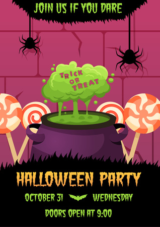 Happy halloween invitation poster with witches cauldron with green potion and candies on background. Greeting card .scary  party flyer. spooky  banner for celebrating holiday cartoon bright colors