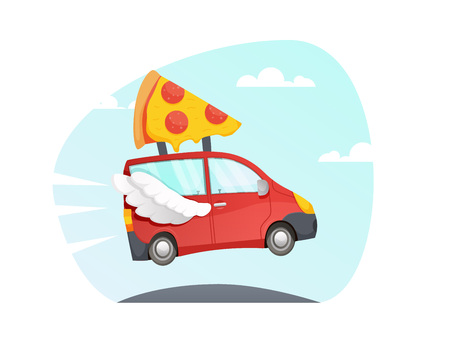 vector Red Delivery truck with wings flying over the road. fast delivery pizza. red car. van cartoon style with sky and clouds  background. colorful illustration
