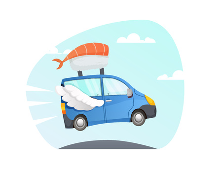 Japan food delivery. take away vector  sushi Delivery fast truck with wings flying over the road. fast delivery pizza. red car. van cartoon style with sky and clouds  background. colorful illustration