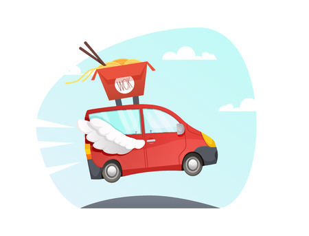 Wok delivery truck. asian noodles. Chinese food take away vector  sushi Delivery fast car with wings flying over the road. van cartoon style with sky and clouds  background. colorful illustration