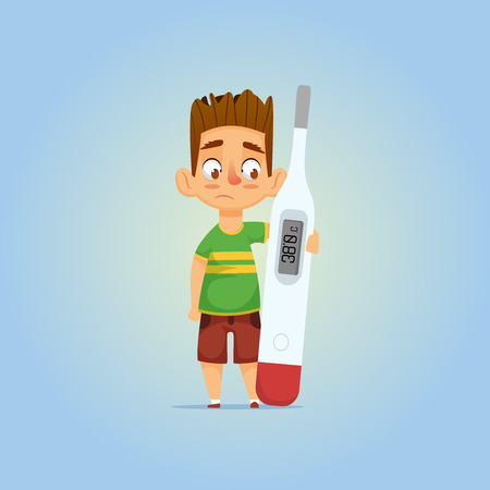 Little ill boy with brunette hair hugging thermometer  and watching sad on it  with hight temperature. kid with the flu.  Vector cartoon illustration of character isolated
