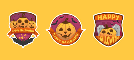 Set of cartoon style Happy Halloween labels and budges.with pumpkin heads. old scary  medieval doors, coffin, bat  stickers, paper cut tags. isolated on yellow background with white outline