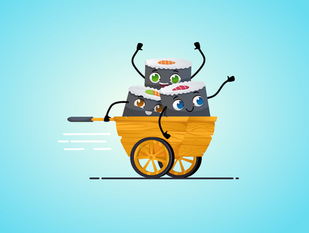 Sushi delivery. Happy smiling cartoon asian food take away concept. Characters riding in wooden asian rickshaw. Japanese food. Vector cartoon. isolated objects.