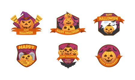 Set of cartoon style Happy Halloween labels and budges.with pumpkin heads. old scary  medieval doors, coffin, witch hat, tombstone, cauldron, ghost,  bat . stickers, paper cut tags.