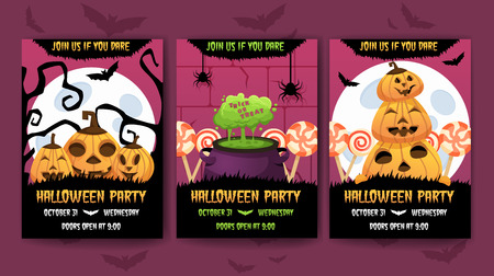 Vertical Happy halloween invitation posters set . Greeting cards .scary  party.banner for celebrating holiday.funny cartoon pumpkin,  witches cauldron green potion and candies on background.and text