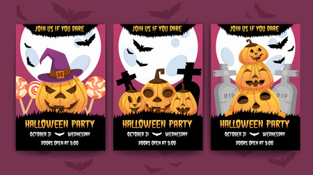 Vertical Happy halloween invitation posters set . Greeting cards .scary  party.banner for celebrating holiday.funny cartoon pumpkin,  bats, and candies on background.and text Illustration