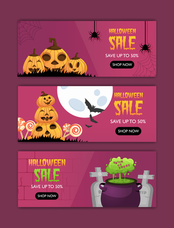 Horizontal Happy halloween invitation posters set . Greeting cards .scary  party.banner for celebrating holiday.funny cartoon pumpkin,  witches cauldron green potion and candies on background.and text
