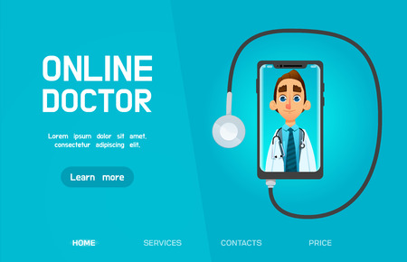 Online Doctor, medical consultation concept web banner with text place.  Doctor talks to the patient through the smartphone screen . vector illustration. cartoon style