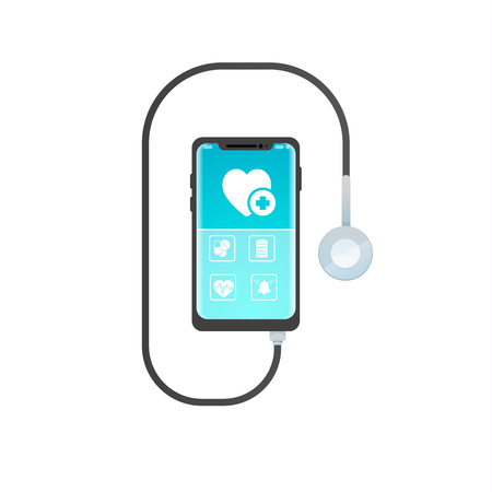 smartphone mobile healthcare application with icon pills, emergency call ,  heartbeat. stethoscope inside headphones jack, medical consultation concept app. vector illustration. isolated on white