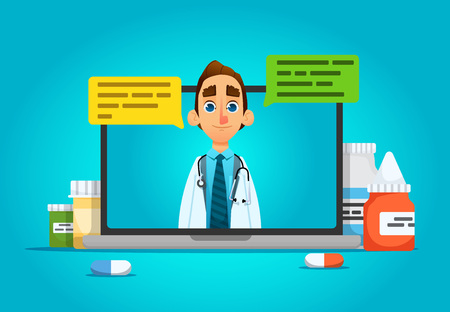 Online Doctor,Future medical consultation concept  doctor talks to the patient through the laptop screen with pills. dialogue speech bubbles. vector illustration. cartoon style.isolated.