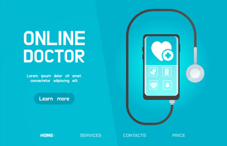 Web banner. smartphone Mobile healthcare application with stethoscope inside headphones jack. concept. Online Doctor, medical consultation concept web banner with text place.