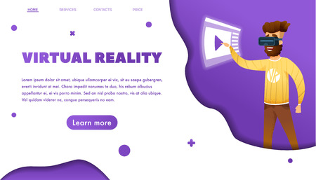Virtual reality Web banner concept with bearded man wearing vr. cartoon modern style. paper cut style with violet palette. vector illustration