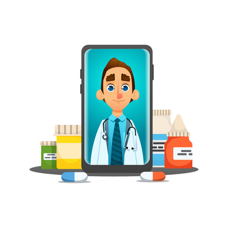 Online Doctor,Future medical consultation concept  doctor talks to the patient through the laptop screen with pills, nose spray. dialogue speech bubbles. vector illustration. cartoon style.isolated. Illustration