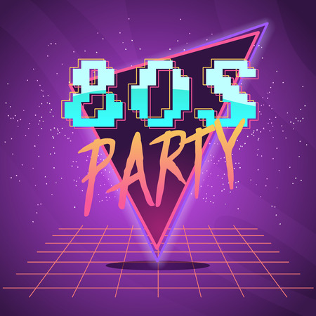 80s retro wave synth label or emblem or oldschool poster. party flyer . neon futuristic vector illustration.