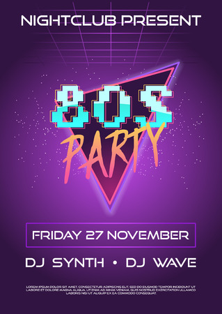 80s retro flyer or banner invitation. poster night club party on synth wave party with text place and 8 bit style font design vector illustration. ultraviolet color palette.