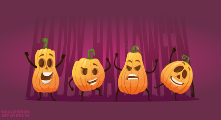 Set of cartoon happy pumpkin characters halloween heads with different emotions and smiles. vector illustration