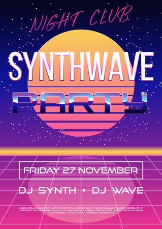 Invitation flyer or banner or poster on retro synth wave 80s party with electro sun or moon on night sky with stars with text place. vector illustration. Illustration