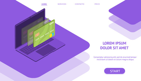 Mobile flat payment with credit card and laptop web concept. isometric style. ultra violet color.  website and mobile site. Landing page template. vector illustration. Illustration