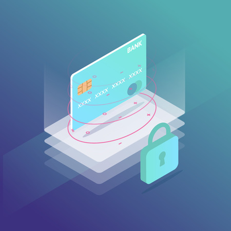 Isometric credit card security. bank transactions. mobile online payment vector illustration.