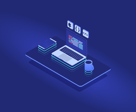 Programmers future workplace with neon, web isometric concept. vector illustration for website or mobile development. laptop with programming code or language. Illustration