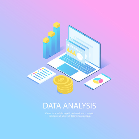 Modern web concept with flat isometric design of data analysis. with laptop, diagram, graphics, coins. vector web landing for website or mobile