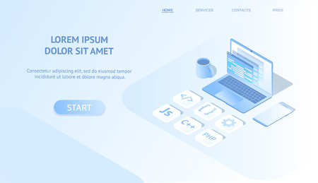 Isometric web banner concept software development and programming, program code on laptop screen. programmer code language , with smartphone, computing isometric website. Landing page template. Vector