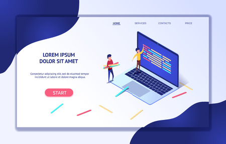 Modern isometric web banner development process. Software API prototyping testing concept software development and programming, program code on laptop. programmer code language. Landing page template. Illustration